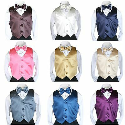 2pc Baby Toddler Kid Teen Boy Wedding Formal Satin Bow Tie W/ Vest Set S thru 20