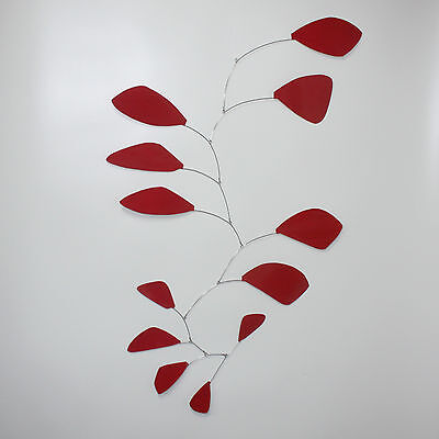 Abstract Modern Friendship Red Leaves Hanging Mobile Painted Steel Free Shipping