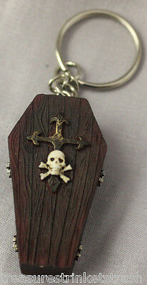 Coffin Key Chain Ring With Cross And Skull And Crossbones Gothic Vampire
