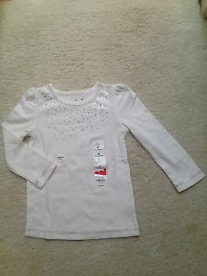 New White Long-Sleeve Sparkle T-Shirt Toddlers/Girls 2T, 6, 6x, 8