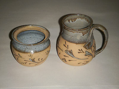 Ann Wade 1997 Pair Of Matching Pottery Blue Glaze In W Leaf Design Out   Signed