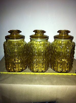 Vintage Yellow  Patterened Glass Canister Set Jars with Lids