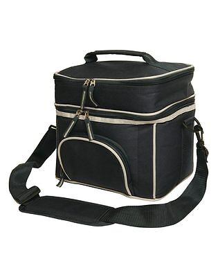 Two Layers Picnic Cooler Bag Lunch Box Wine Insulated Travel Pack Black New