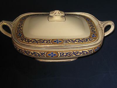 Covered serving Dish-China-J & G Meakin-England-gold/yellow/ blue/trim-391413