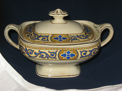 Sugar Bowl with Cover-J & G Meakin-England-yellow/gold/blue/gold trim