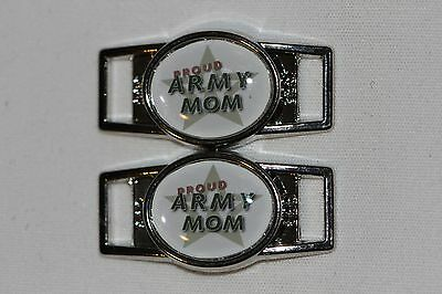 """/""""Proud Navy Mom/"""" 001 Oval shoelace charm shoes//paracord 1"""