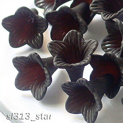 20pcs of Floral Cottage Acrylic Trumpet Lily Beads, Matte Black