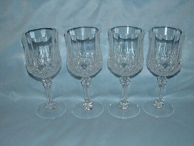 """4 Pc Set LEAD CRISTAL D'ARQUES Longchamp WINE GOBLETS Water Glass 6.50"""" FOOTED"""