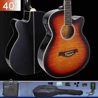 40-inch Cutaway Electric Acoustic Guitar with Guitar amp Stand Tuner Bag