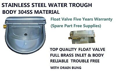 Stainless Steel Water Trough Bowl Full Brass Automatic Float 4 Cattle Dog Goats