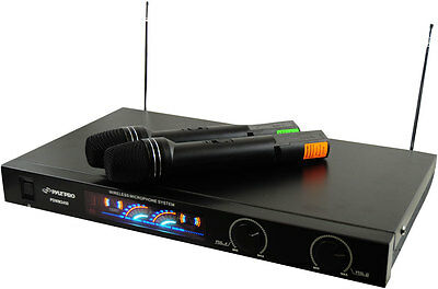 PylePro PDWM2450 Wireless 2 Channel VHF Microphone System With 2 Microphones