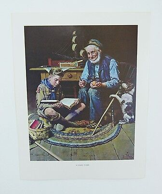 Vintage 1960's Norman Rockwell A Good Turn Boy Scout Print