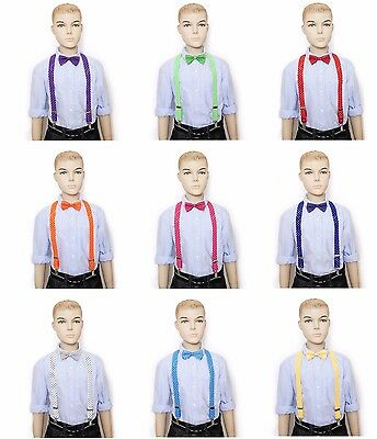BOYS & GIRLS KIDS TODDLER Polka Dot Clip-on  Elastic Suspenders + Bow-Tie Combo