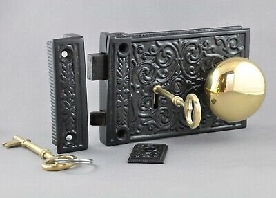 RIM LOCK + BRASS KNOBS-BLACK CAST IRON INCISED VICTORIAN STYLE-entrance door