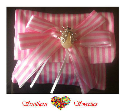 6 X Pink & White Striped Pouch Girls Favor Lollies Candy Bonboniere Bag Party