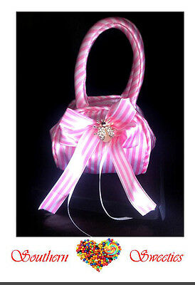 6 x PINK & WHITE MINI SILK CANDY BAGS  girls Favors Bonbonerie Lollies candy