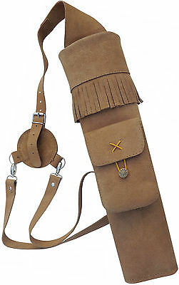 Tan Suede Back Side Quiver With front Pocket Archery Products AQ-118.