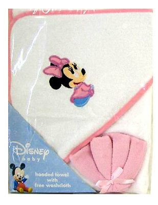 Disney 2pc Gift Set Minnie Mouse Infant Baby Girl Pink Hooded Towel + Washcloth