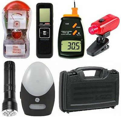 NEW Deluxe Ghost Hunting Kit + Red LED Light + Equipment Case + FREE Batteries