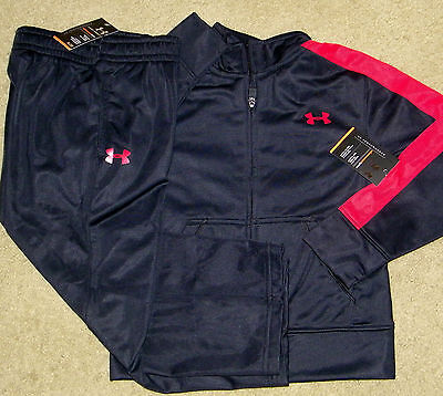 New! Boys UA Under Armour Track Outfit (Jacket, Pants; Black/Red) - Size 4