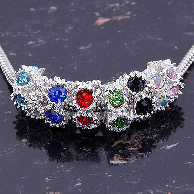 Wholesale Lots Crystal European Large Hole Spacer Loose Bead Fit Charm Bracelet