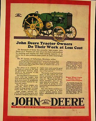 "1927 John Deere - Magazine  ad  Full  Color  Ad  8.5 X 11 ""    Framed"