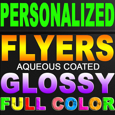 """2500 Flyers 8.5"""" X 5.5"""" Full Color 100Lb Glossy Double Sided 8.5X5.5 Personalied"""
