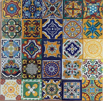 """25~ 4"""" X 4"""" Talavera Mexican assortment tiles 1st quality hand painted Lead Free"""