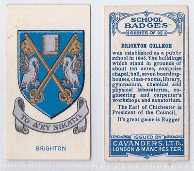 School Badges (Dark Blue Back) - Cavanders 1928 - Brighton