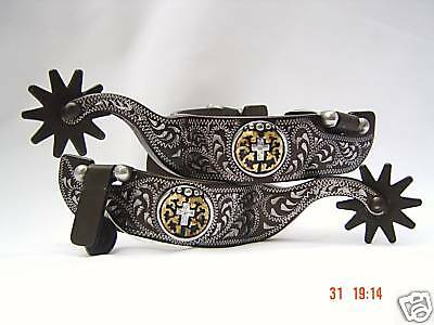 Cowboy Rodeo Western Trophy Style Cross Concho Spurs