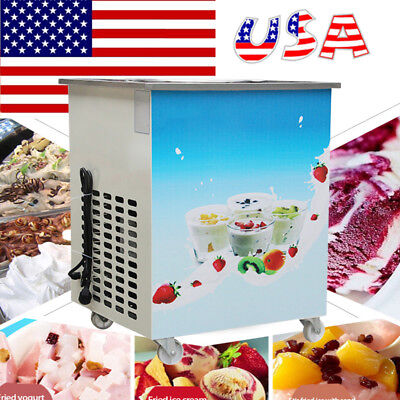 Movable Fried Ice Cream Roll Maker Milk Yogurt Machine 1050W with 36cm Pan US