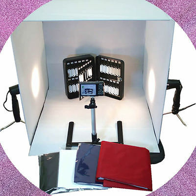"WOW 24"" Cube Tent Photography Photo Studio Light Box + Lighting Stand Kit 60cm"