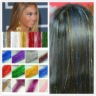 "28"" Silk Hair Tinsel 1 Pack flare strand hair bling salon extensions"