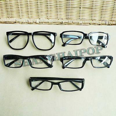 Clear Lens Glasses Black Vintage Thin Nerd Geek Fashion Unisex New Look Large