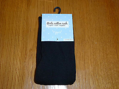 New Girl Cotton Super Soft Black/grey School Party Tights 3-4 5-6 7-8 & 9-10 Yrs