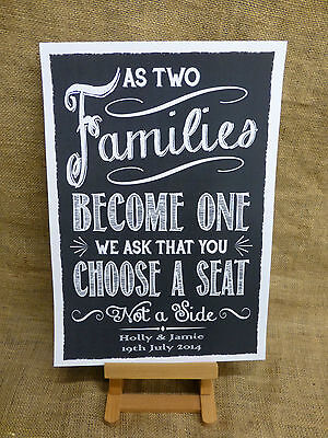 PERSONALISED vintage chalkboard style PICK A SEAT NOT A SIDE sign A3 OR A4