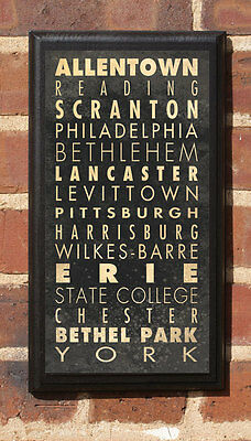 Cities of Pennsylvania PA Vintage Style Wall Plaque / Sign