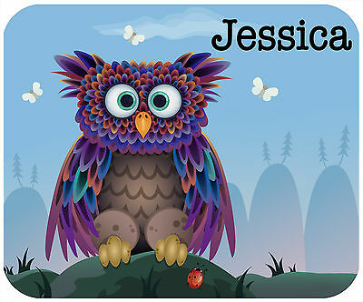 Mouse Pad Custom Personalized, Thick Mousepad-Cute Owl-Add Any Text Free