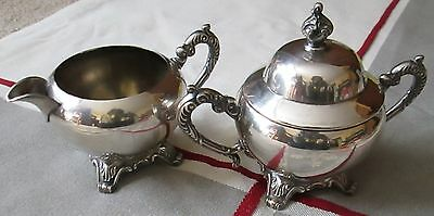 Unmarked Silverplate Rogers Sugar and Covered Creamer Antique for teas set
