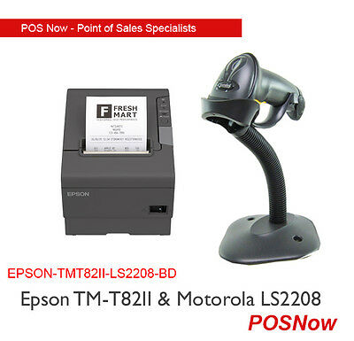 EPSON TM-T82II USB Receipt Printer & Motorola LS2208 USB Barcode Scanner Bundle