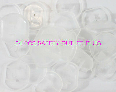24 PCS Safety Clear Outlet Plug Covers Child Baby Proof Electric Shock Guard