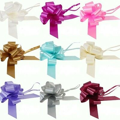 50mm poly ribbon PULL BOWS waterproof WEDDING, PARTY -Reduced To Clear