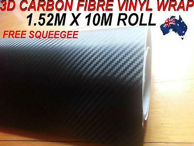 BRAND NEW 3D Carbon Fibre Car Vinyl WRAP Sticker, 1.52M X 10M ,Free Squeegee,OZ