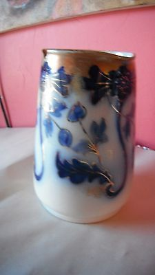 antique vintage flow blue w/gold accents Burslem Staffordshire milk pitcher/jug