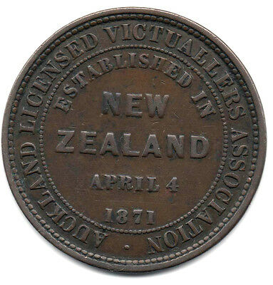 1871 -  - Auckland Licensed Victuallers Assoc Token  - *** Vf Cond *** - R36