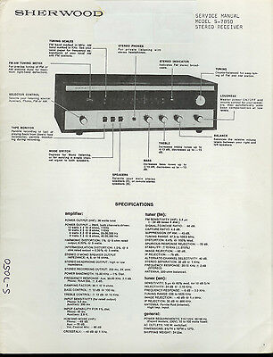 Factory Sherwood S-7050 FM Stereo Receiver Service Manual Fold-Out Schematic