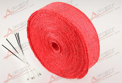 """FIBERGLASS Exhaust Thermo Wrap Tape High Heat 2"""" x 25 FOOT Cloth Roll RED H"""