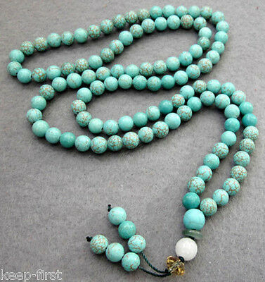 6mm 108 pcs Natural Blue Turquoise Beads Tibet Buddhist Prayer Mala Necklace