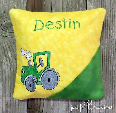 Boy's Personalized Embroidered Farm Tractor Design Tooth Fairy Pillow