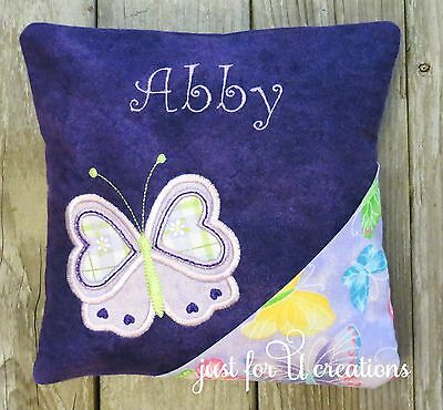 Girl's Personalized Embroidered Butterfly Design Tooth Fairy Pillow